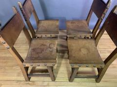 Set Eight Early 1900s Spanish Leather Dining Chairs - 1722655