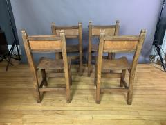Set Eight Early 1900s Spanish Leather Dining Chairs - 1722661