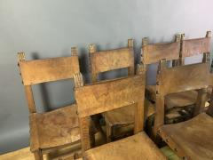 Set Eight Early 1900s Spanish Leather Dining Chairs - 1722662