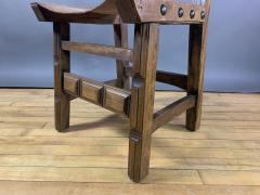 Set Eight Early 1900s Spanish Leather Dining Chairs - 1722663