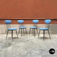 Set light blue leatherette chair 1950s - 1945604
