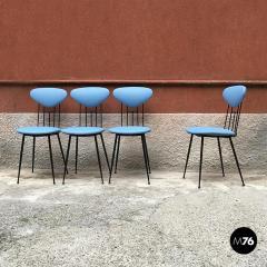 Set light blue leatherette chair 1950s - 1945605