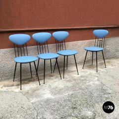 Set light blue leatherette chair 1950s - 1945606