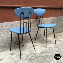 Set light blue leatherette chair 1950s - 1945607