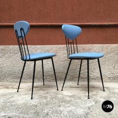 Set light blue leatherette chair 1950s - 1945608