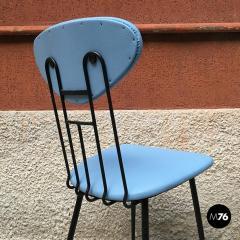Set light blue leatherette chair 1950s - 1945612