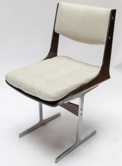Set of 10 1960s Brazilian Jacaranda Tufted Dining Chairs in Beige Linen - 983065