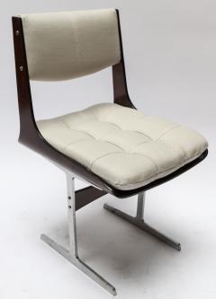 Set of 10 1960s Brazilian Jacaranda Tufted Dining Chairs in Beige Linen - 983067