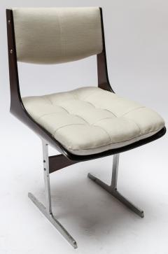Set of 10 1960s Brazilian Jacaranda Tufted Dining Chairs in Beige Linen - 983068