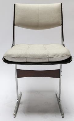 Set of 10 1960s Brazilian Jacaranda Tufted Dining Chairs in Beige Linen - 983070