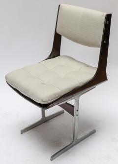 Set of 10 1960s Brazilian Jacaranda Tufted Dining Chairs in Beige Linen - 983071