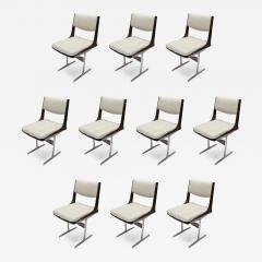 Set of 10 1960s Brazilian Jacaranda Tufted Dining Chairs in Beige Linen - 985866