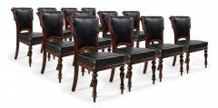Set of 12 English William IV Style Walnut and Black Leather Dining Chairs - 1403980