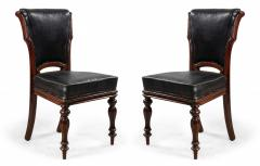 Set of 12 English William IV Style Walnut and Black Leather Dining Chairs - 1403981