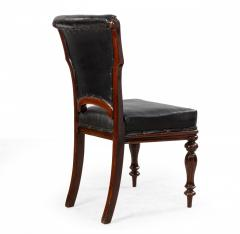 Set of 12 English William IV Style Walnut and Black Leather Dining Chairs - 1403983