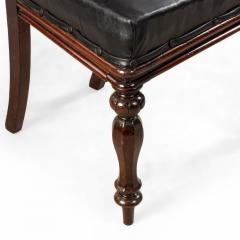 Set of 12 English William IV Style Walnut and Black Leather Dining Chairs - 1403984