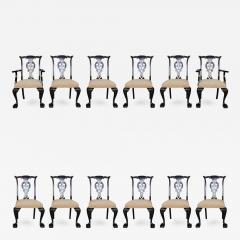 Set of 12 Irish George II Style Elm Chairs circa 1880 - 410137