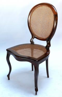 Set Of 1940s Brazilian Jacaranda Medallion Cane Dining Chairs   278683