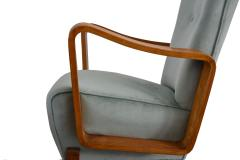 Set of 2 armchairs in light blue velvet from 50s italian production - 1506994