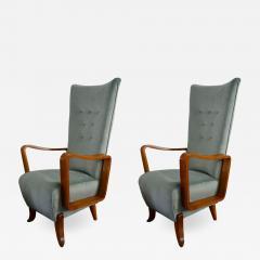 Set of 2 armchairs in light blue velvet from 50s italian production - 1509711