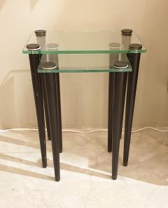 Set of 2 nesting tables Mid Century Modern glass black wood legs Italy 1960 - 1312419