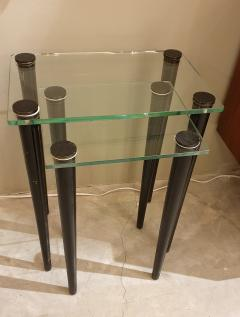 Set of 2 nesting tables Mid Century Modern glass black wood legs Italy 1960 - 1312420
