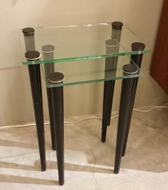 Set of 2 nesting tables Mid Century Modern glass black wood legs Italy 1960 - 1312422