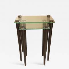 Set of 2 nesting tables Mid Century Modern glass black wood legs Italy 1960 - 1313960