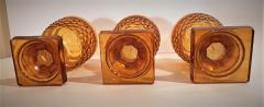 Set of 3 Amber Cut Crystal Bonbonaires Circa 1910 Bohemia - 2074053
