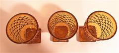 Set of 3 Amber Cut Crystal Bonbonaires Circa 1910 Bohemia - 2074054