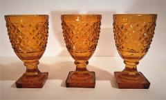 Set of 3 Amber Cut Crystal Bonbonaires Circa 1910 Bohemia - 2074055