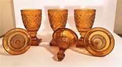 Set of 3 Amber Cut Crystal Bonbonaires Circa 1910 Bohemia - 2074056