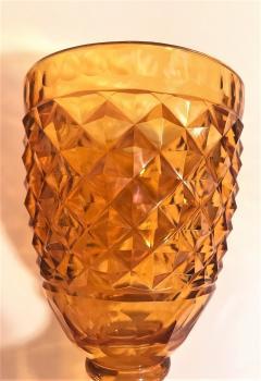 Set of 3 Amber Cut Crystal Bonbonaires Circa 1910 Bohemia - 2074061