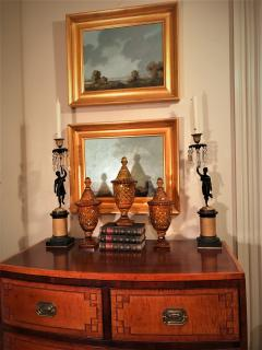 Set of 3 Amber Cut Crystal Bonbonaires Circa 1910 Bohemia - 2074062