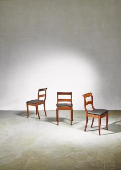 Set of 3 Karl Johan style sidechairs with horsehair seat Sweden 19th century - 966282
