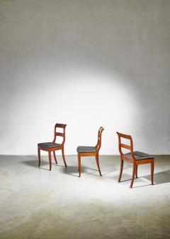 Set of 3 Karl Johan style sidechairs with horsehair seat Sweden 19th century - 966283