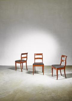Set of 3 Karl Johan style sidechairs with horsehair seat Sweden 19th century - 966284