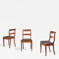 Set of 3 Karl Johan style sidechairs with horsehair seat Sweden 19th century - 968092