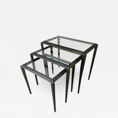 Set of 3 Nesting Tables in Antique Brass - 1276450