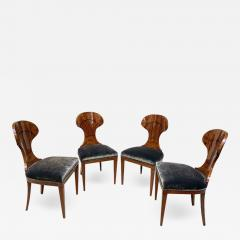 Set of 4 Biedermeier Ballon Chairs Ash Veneer Grey Velvet Vienna circa 1900 - 2063949