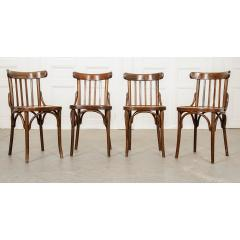 Set of 4 Early 20th Century French Oak Bentwood Dining Chairs - 1794764