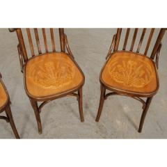 Set of 4 Early 20th Century French Oak Bentwood Dining Chairs - 1794775