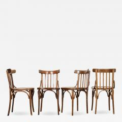 Set of 4 Early 20th Century French Oak Bentwood Dining Chairs - 1815932