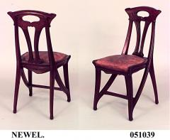 Set of 4 French Art Nouveau Walnut Sleigh Design Open Back Side Chairs - 422124