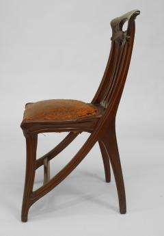 Set of 4 French Art Nouveau Walnut Sleigh Design Open Back Side Chairs - 422125
