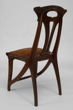 Set of 4 French Art Nouveau Walnut Sleigh Design Open Back Side Chairs - 422126