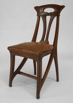 Set of 4 French Art Nouveau Walnut Sleigh Design Open Back Side Chairs - 422127