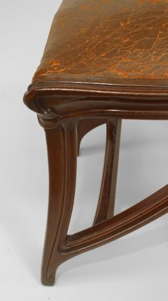 Set of 4 French Art Nouveau Walnut Sleigh Design Open Back Side Chairs - 422129