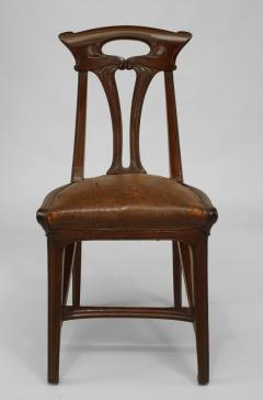 Set of 4 French Art Nouveau Walnut Sleigh Design Open Back Side Chairs - 422130