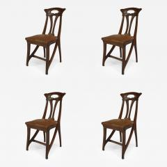 Set of 4 French Art Nouveau Walnut Sleigh Design Open Back Side Chairs - 422430